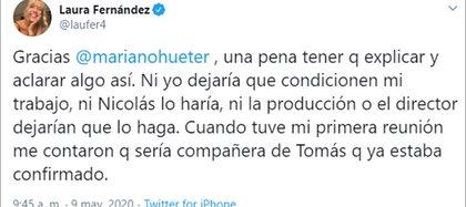 El mensaje de Laurita Fernández sobre el escándalo (Twitter)
