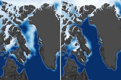 La disminución de los hielos árticos. (15 de julio de 1993 en la imagen de la izquierda - 15 de julio de 2013 de la derecha) (Shutterstock)