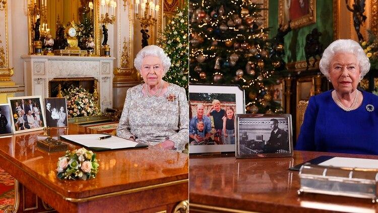 Las fotografías oficiales de la reina Isabel en sus mensajes de 2018 y 2019. Un mensaje oculto en la puesta en escena estuvo dirigido hacia príncipe Harry y Meghan Markle (Shutterstock - AFP)