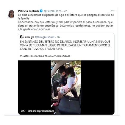 """La presidenta del PRO, Patricia Bullrich, compartió el video donde se ve a Diego cargando a su hija y le escribió un mensaje al Gobernador de Santiago del Estero, Gerardo Zamora. """"Levante las restricciones, no pueden tratar a la gente como animales"""", dijo."""