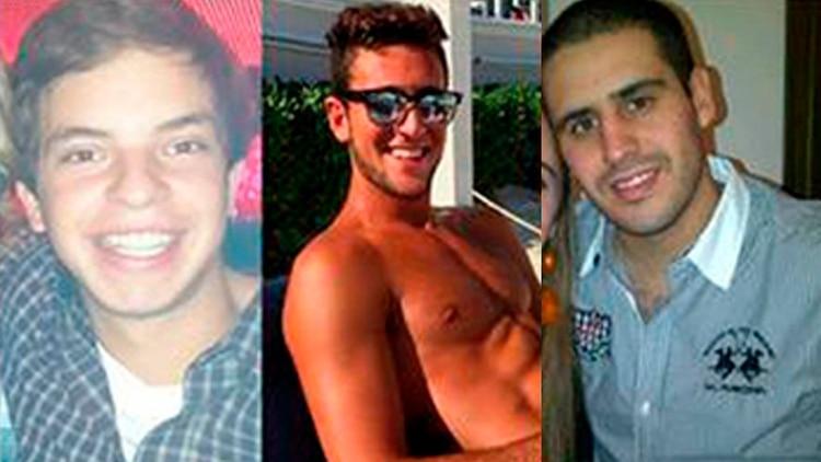 Leandro Del Villar, Luciano Mallemaci y Ezequiel Quintana, los tres jóvenes acusados de abuso sexual en manada