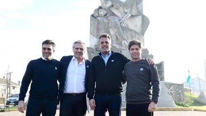 Facundo López, Alberto Fernández, Sergio Massa y Axel Kicillof en Quequén