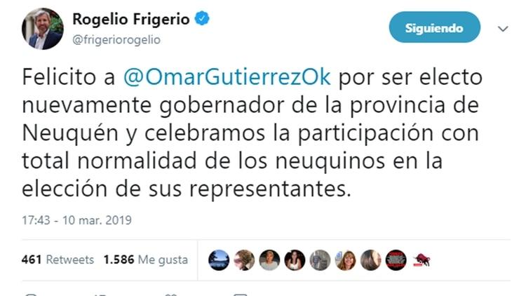 El saludo del ministro Rogelio Frigerio