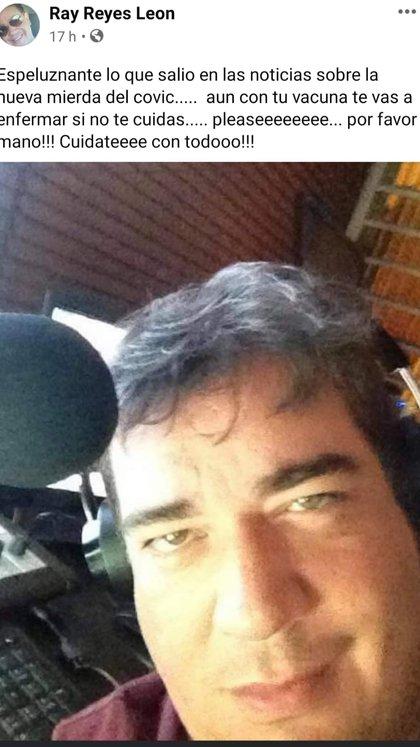 El último mensaje de Ray Reyes en su red social, compartido pocas horas antes de morir (Foto: Facebook/Ray Reyes León)
