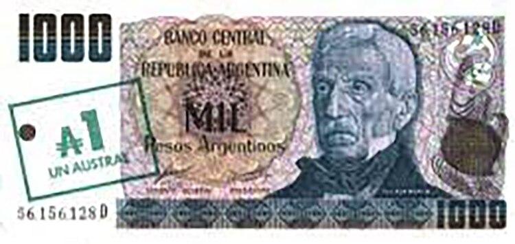 En el apuro por lanzar el austral, hubo que resellar los pesos argentinos. Así San Martín pasó de 1.000 pesos argentinos a 1 austral de un día para otro