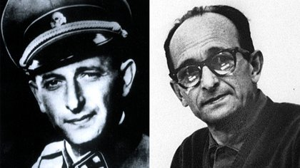 Adolf Eichmann con su uniforme militar nazi y cuando fue atrapado en San Fernando, provincia de Buenos Aires