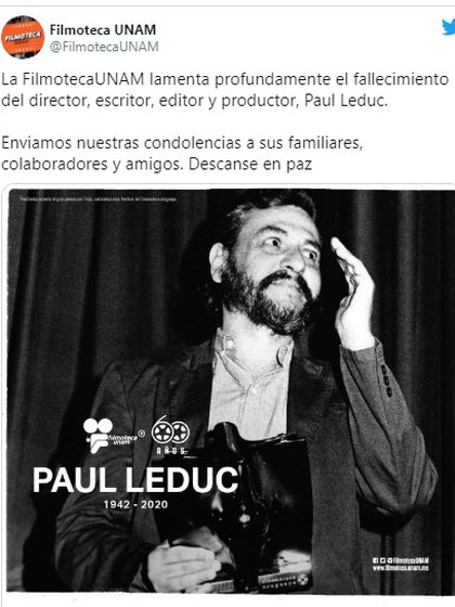 La Filmoteca de la UNAM se sumó a las condolencias (Foto: Captura de pantalla)