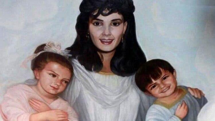 Guadalupe Lejía, la esposa de Palma Salazar, y sus dos hijos (Foto: archivo)