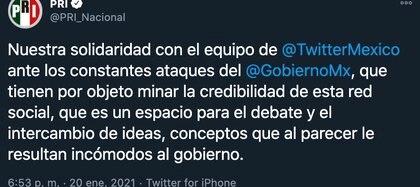 PRI arremete contra AMLO por descalificaciones hacia el equipo de Twitter México (Foto: Twitter@PRI_Nacional)