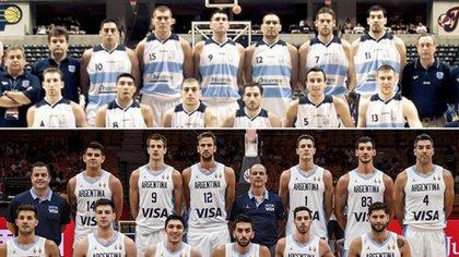 Dos planteles, muchos puntos en común para dos selecciones que quedarán en la historia del básquet argentino