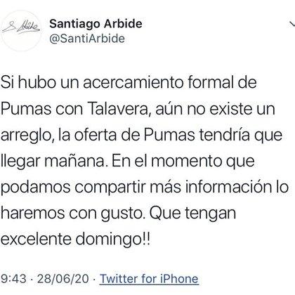 Santiago Arbide, CEO de AmEro Sports, informó que Pumas está interesado en Alfredo Talavera (Foto: Twitter@SantiArbide)