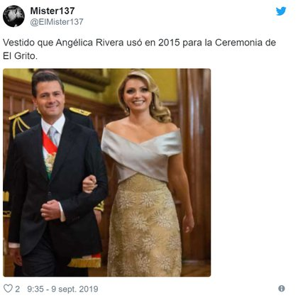 Vestido que utilizó Angélica Rivera en el 2015 (Foto: Twitter)