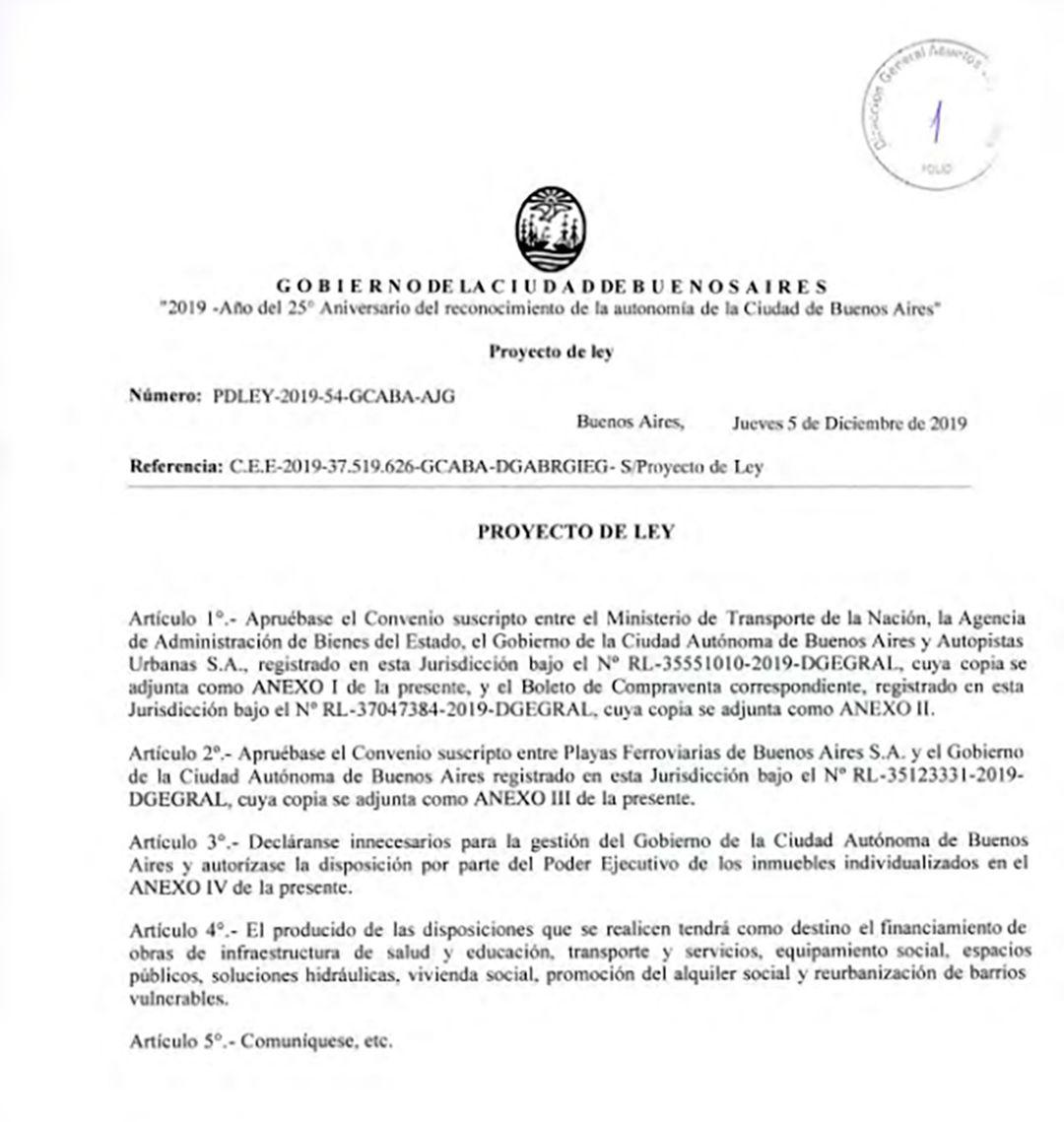 El texto del proyecto de ley que contempla la transferencia de terrenos de Nación a Ciudad
