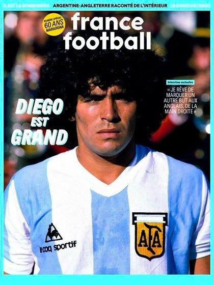 La tapa de la edición especial de France Football en homenaje a Maradona