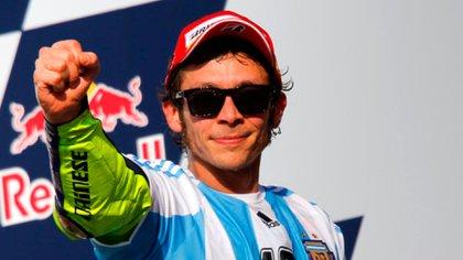 Valentino Rossi festejando su triunfo en la Argentina en 2015 (Foto: MotoGP)