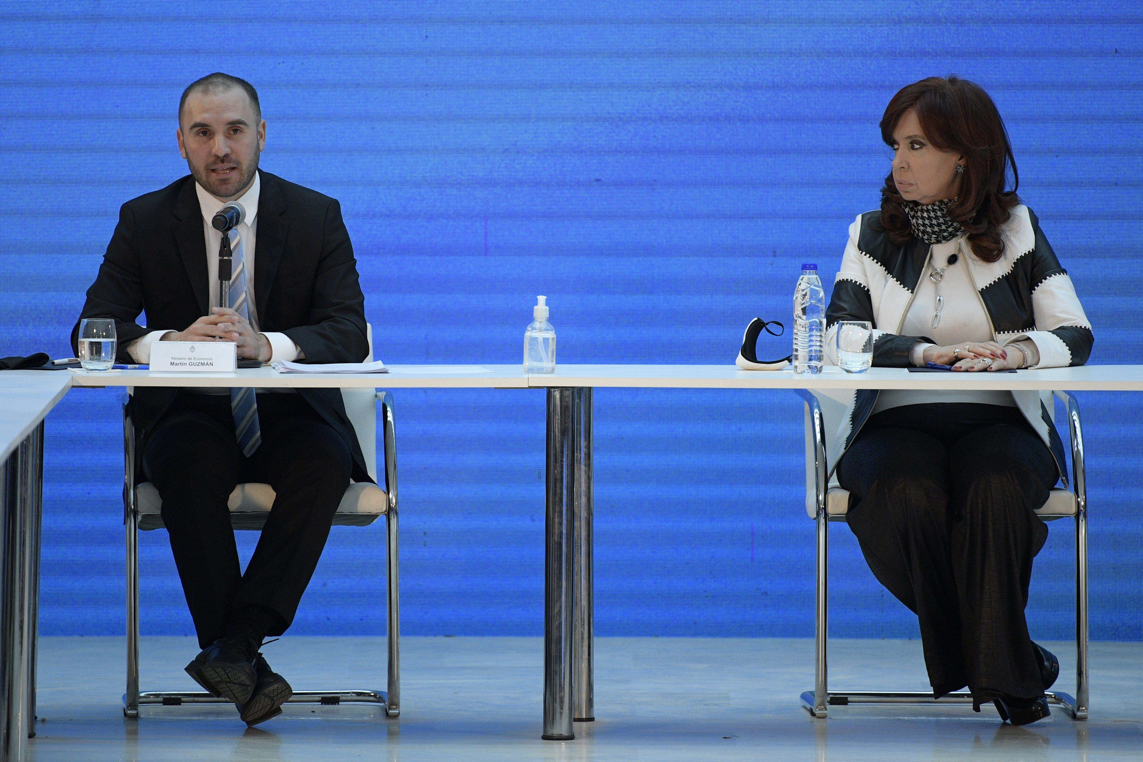 El ministro de Economía Martín Guzmán y Cristina Kirchner