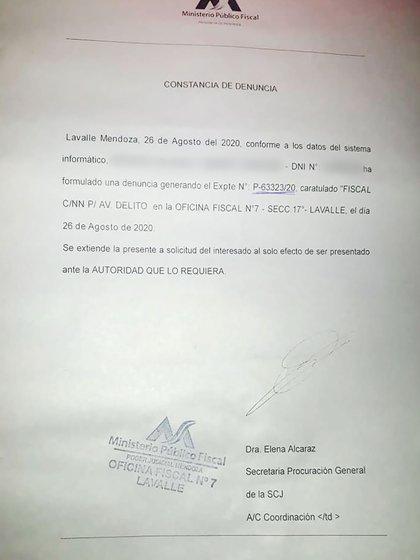 La denuncia por grooming quedó radicada en la Oficina Fiscal de Lavalle Nº 7, del poder Judicial de Mendoza