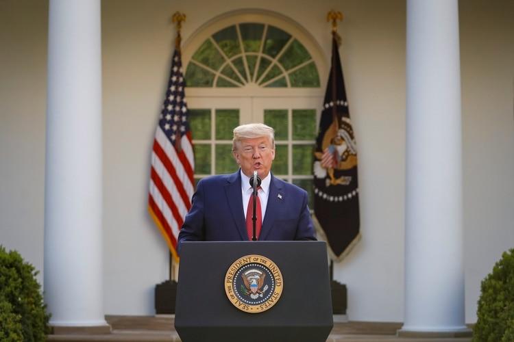 Donald Trump, durante la conferencia de presa sobre el coronavirus en la Casa Blanca (Reuters)