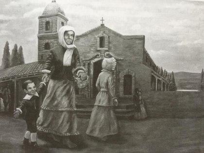 Cuando donde se ve a Rosa Guarú y a San Martín niño. Es un óleo mural de Rubén Vispo, que está en el Museo Sanmartiniano de Corrientes