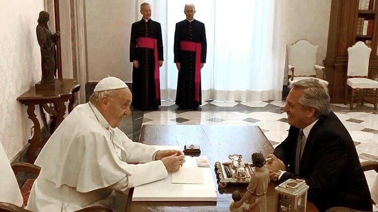 El papa Francisco y Alberto Fernández (Télam)