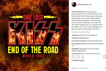 Gene Simmons compartió el afiche del la gira mundial que realizará Kiss durante 2019