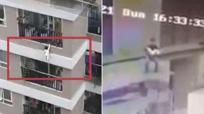 La bebé saltó la protección metálica y trepó por la cornisa del edificio, se aferró de una mano por algunos segundos pero el peso de su cuerpo la hizo caer del doceavo piso Crédito (Captura de videos: Twitter @luuminhtriet y Facebook Mobile legend)