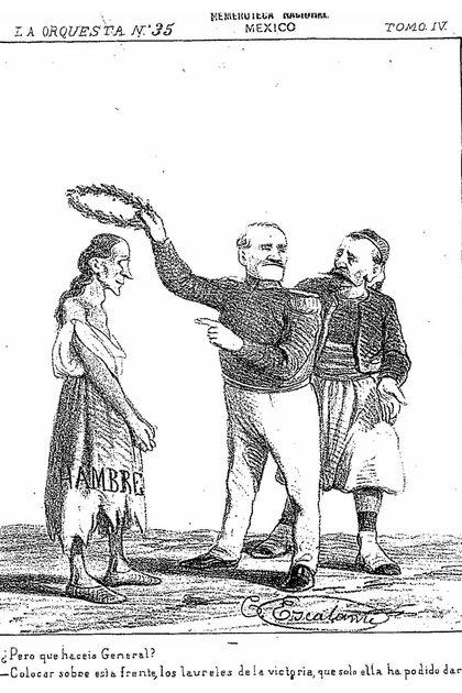 "El general francés Forey corona al ""hambre"", la que les dio el triunfo en México (Caricatura del periódico La Orquesta)"