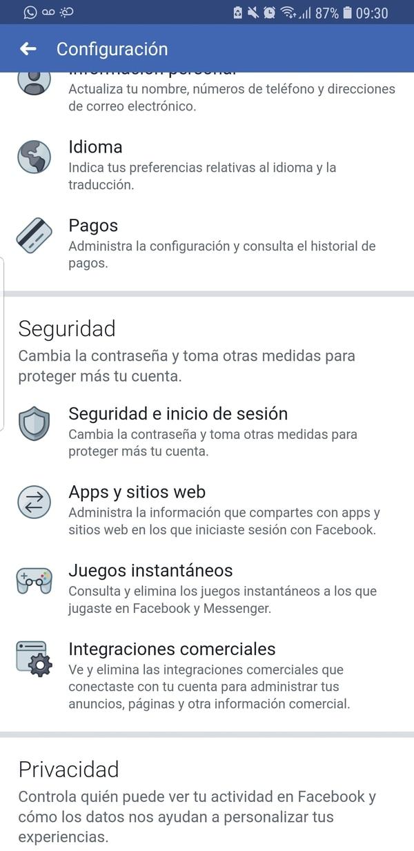 Desde la opción Apps y sitios web se podrá ver en qué plataformas se usa el inicio de sesión automático con el usuario de Facebook.