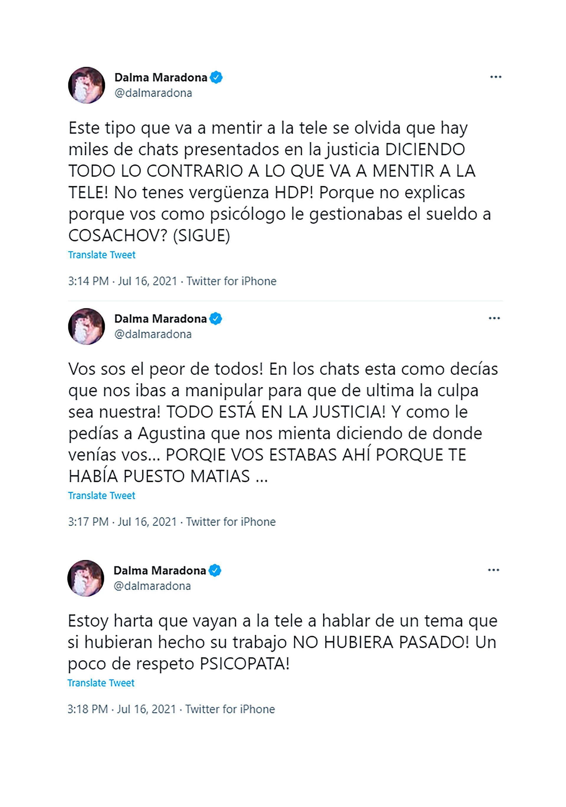 Dalma Maradona le contestó al psicólogo Díaz
