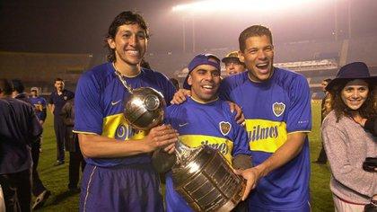 Oscar Córdoba, Mauricio Serna y Jorge Bermúdez, integrantes de le época dorada de Boca que ganó la final de la Copa Intercontinental contra el Real Madrid.