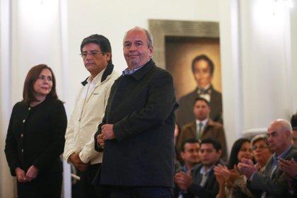 La canciller Karen Longaric, el ministro de la Presidencia Jerjes Justiniano y el ministro de Gobierno Arturo Murillo, integrantes del nuevo gabinete interino