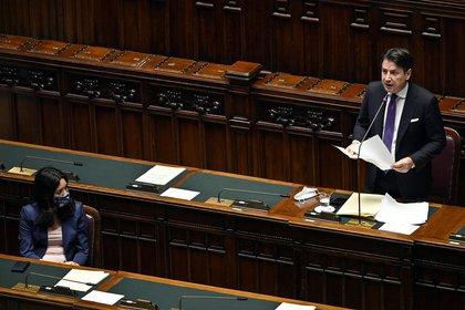 El primer ministro italiano Giuseppe Conte en la Cámara de Diputados (Riccardo Antimianipool/LaPresse  / DPA)