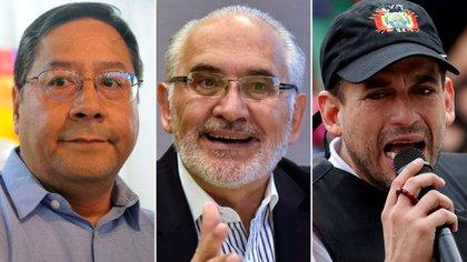 Luis Arce, Carlos Mesa y Luis Fernando Camacho, los principales candidatos a la presidencia de Bolivia, de acuerdo a los sondeos