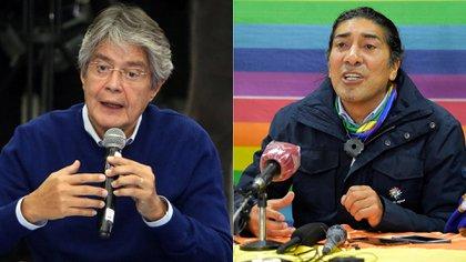 Guillermo Lasso y Yaku Pérez, candidatos que disputan el pase a la segunda vuelta para enfrentar al correísta Andrés Arauz (AFP-Reuters)