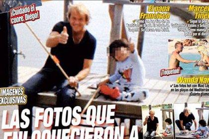 Jorge Taiana, novio de Claudia Villafañe, con Benjamín Aguero en una tapa de Paparazzi