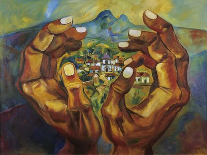 """Lugar natal"" (1989), de Eduardo Kingman. Oleo sobre lienzo, en el Banco Interamericano de Desarrollo, Washington, EE.UU."