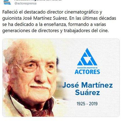 La Asociación Argentina de Actores emitió un mensaje por la muerte del director cinematográfico (Foto: Twitter)