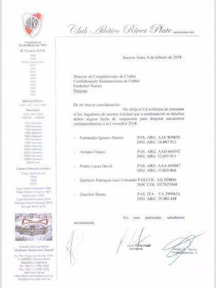 River le consultó a Conmebol la situación de algunos futbolistas antes de iniciar la Copa Libertadores