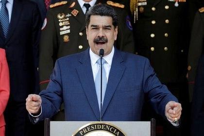 Imagen de archivo del dictador venezolano Nicolás Maduro, hablando durante una conferencia de prensa en el Palacio de Miraflores en Caracas, Venezuela. 12 de marzo, 2020. REUTERS/Manaure Quintero