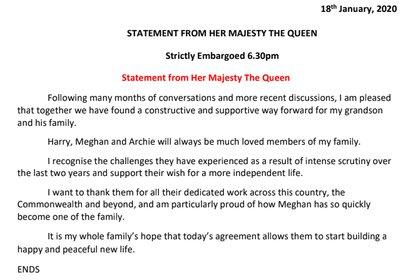 La declaración de la Reina Isabel sobre Harry y Meghan