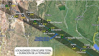 La franja de totalidad atravesará varias ciudades argentinas