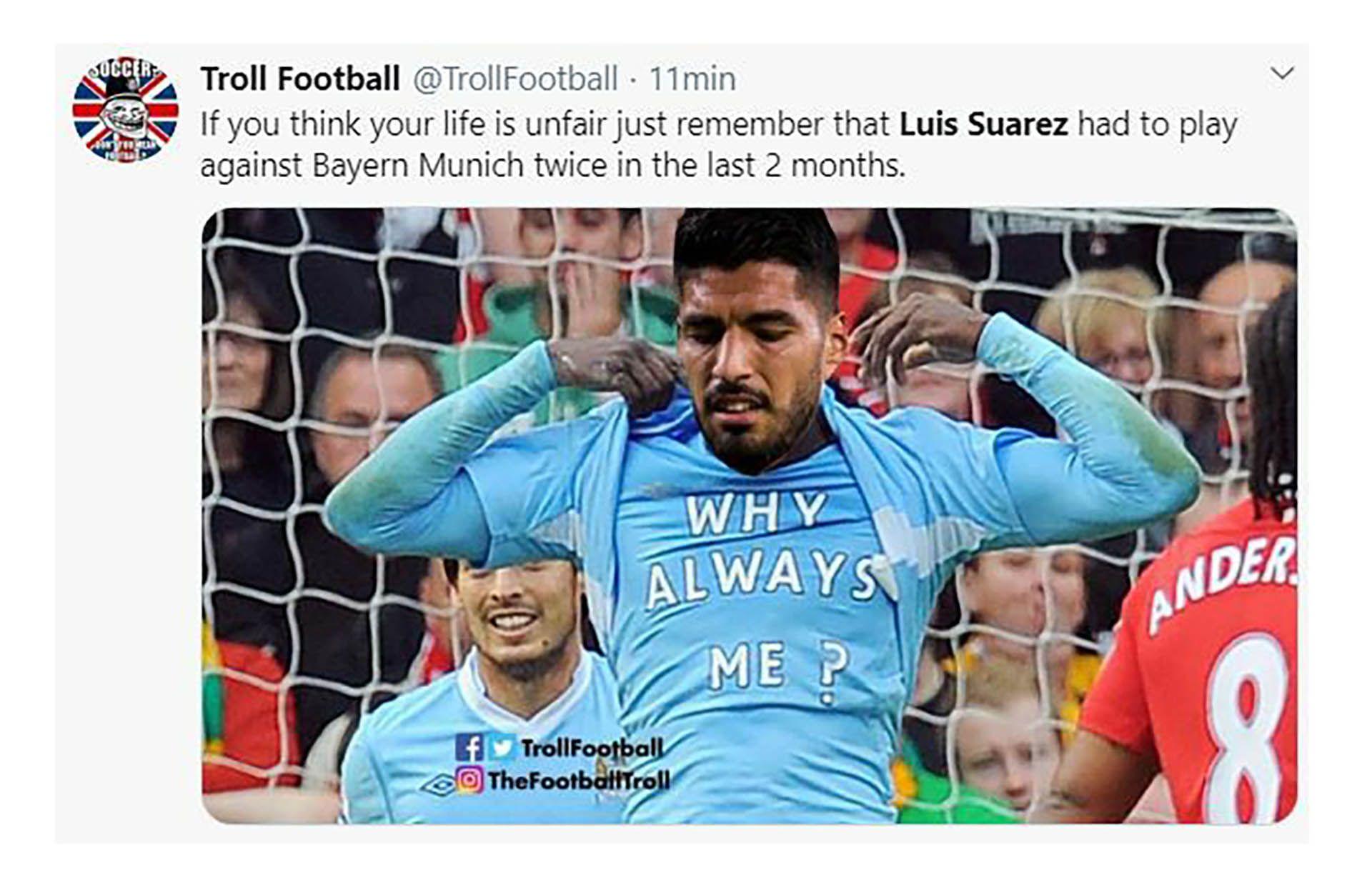 Con Luis Suárez como el eje de las burlas, los mejores memes de la goleada del Bayern Múnich al Atlético de Madrid