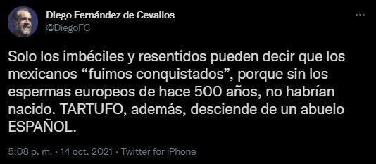 Diego Fernández de Cevallos tundió a AMLO por la Conquista de México