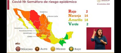 Map of the next epidemiological alert traffic light (Photo: SSa)