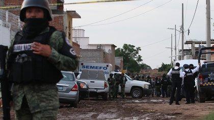 Fotografía con fecha del 1 de julio de 2020 que muestra la zona donde fueron asesinados 26 jóvenes en el municipio de Irapuato, en el estado de Guanajuato (México). EFE/Str