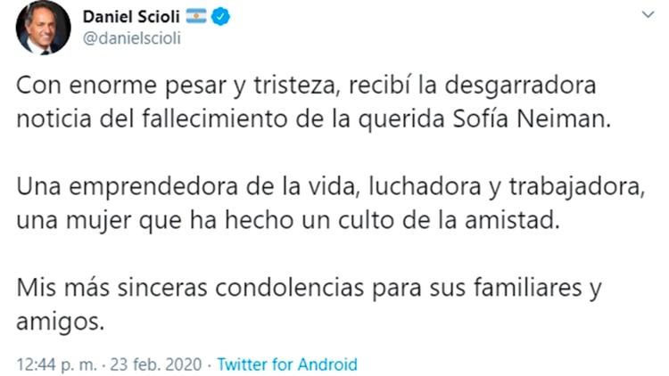 Las condolencias de Daniel Scioli