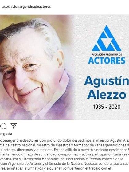 El mensaje de la Asociación Argentina de Actores en Homenaje a Agustín Alezzo