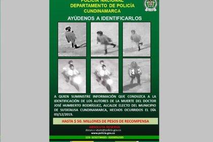Cartel donde se ofrece recompensa por información sobre el homicidio del alcalde de Sutatausa, en Colombia.