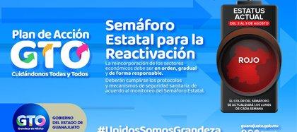 Guanajuato se encuentra en semáforo rojo en la semana del 3 al 9 de agosto (Foto: Twitter/@gobiernogto)