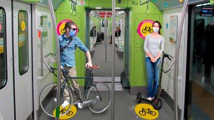 Los subtes habilitaron el traslado de bicicletas y monopatines